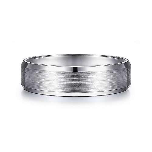 14K White Gold 6mm -  Rounded Satin Center and Polished Beveled Edge Men's Wedding Band