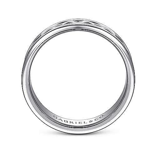 14K White Gold 6mm - Center Diamond Cut Men's Wedding Band