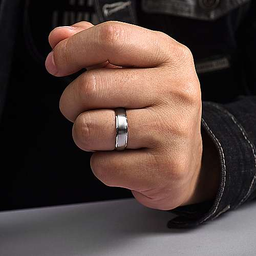 14K White Gold 6mm - Diamond Coin Cut Edge Satin Finish Men's Wedding Band
