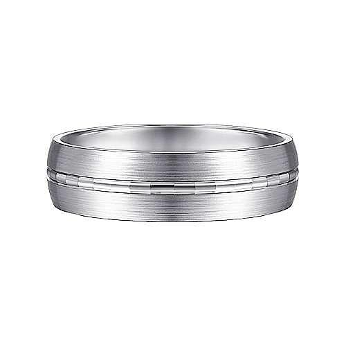 14K White Gold 6mm - Engraved Channel Center, Satin Finish Men's Wedding Band
