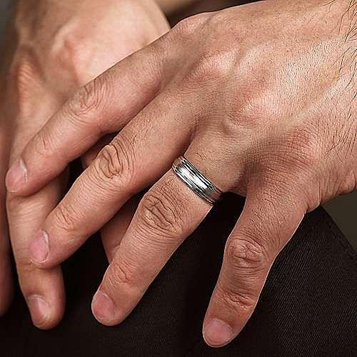 14K White Gold 6mm - Raised Center Diamond Cut Channel Men's Wedding Band