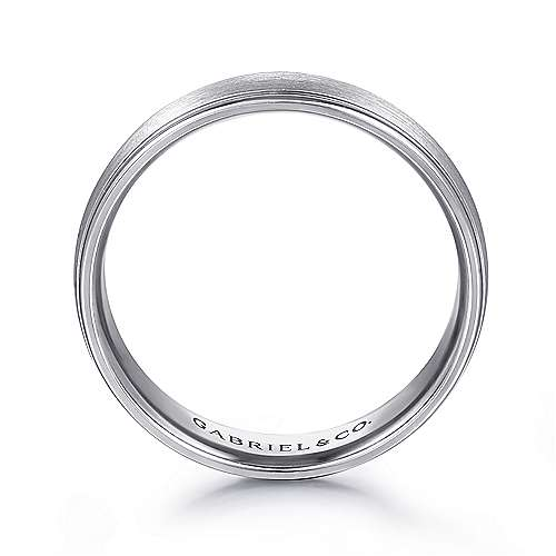 14K White Gold 6mm - Rounded Satin Polished Edge Men's Wedding Band