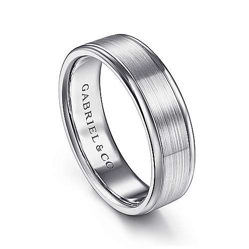 14K White Gold 6mm - Satin Center and Polished Edge Men's Wedding Band