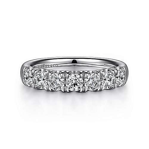 14K White Gold 7 Stone French Pavé Diamond Wedding Band