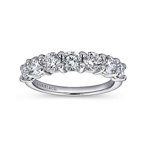 14K White Gold 7 Stone Shared Prong Diamond Anniversary Band