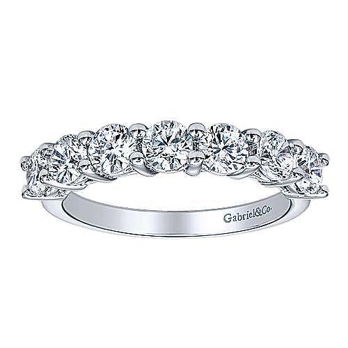 14K White Gold 7 Stone Shared Prong Set Diamond Wedding Band