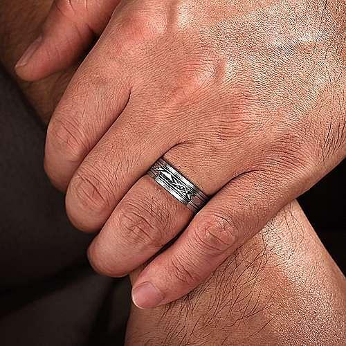 14K White Gold 7mm - Diamond Cut Center Men's Wedding Band