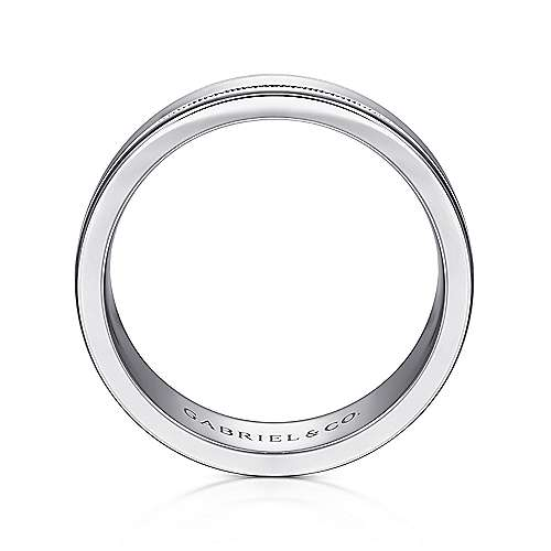 14K White Gold 7mm - High Polished Men's Wedding Band with Millgrain