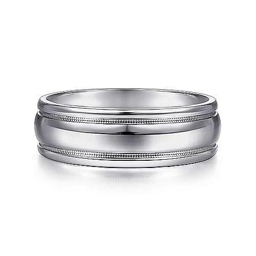 14K White Gold 7mm - Raised Center Milgrain Edge Men's Wedding Band