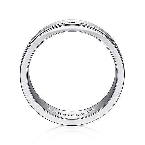 14K White Gold 7mm - Satin Milgrain Channel Men's Wedding Band