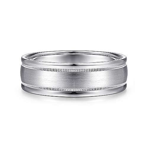 14K White Gold 7mm - Satin Milgrain Channel Polished Edge Men's Wedding Band