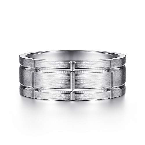 14K White Gold 8mm - Grooved Elongated Checkered Pattern Men's Wedding Band