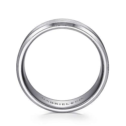 14K White Gold 8mm - Satin Center and Beveled Edge Men's Wedding Band