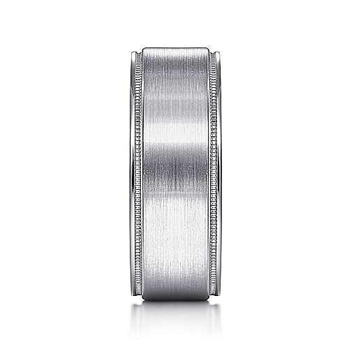 14K White Gold 8mm - Satin Polished Edge Men's Wedding Band