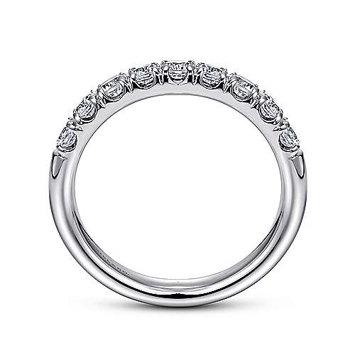 14K White Gold 9 Stone French Pavé Diamond Wedding Band