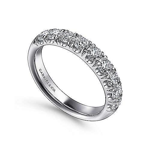 14K White Gold 9 Stone French Pavé Diamond Wedding Band