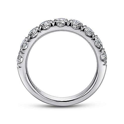 14K White Gold 9 Stone French Pavé Set Diamond Wedding Band