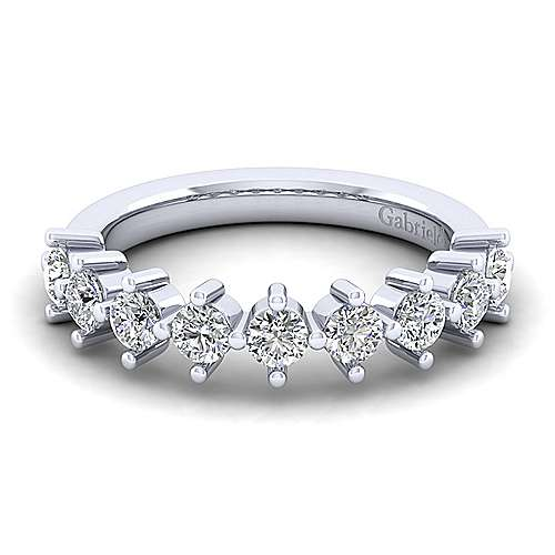 14K White Gold 9 Stone Single Prong Diamond Anniversary Band
