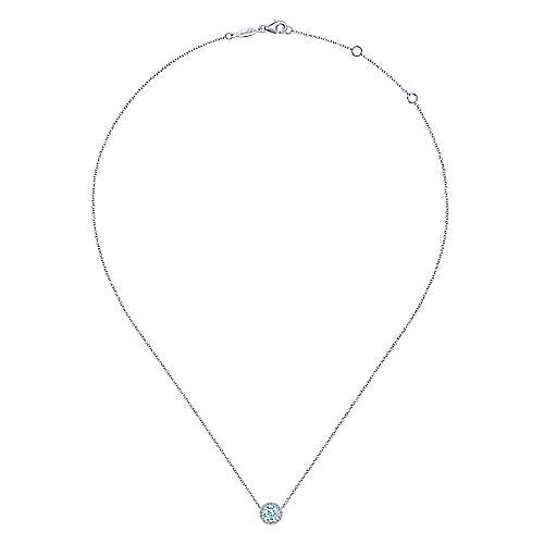 14K White Gold AQ - Aquamarine Necklace
