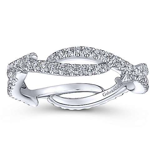 14K White Gold Abstract Twisted Diamond Eternity Ring