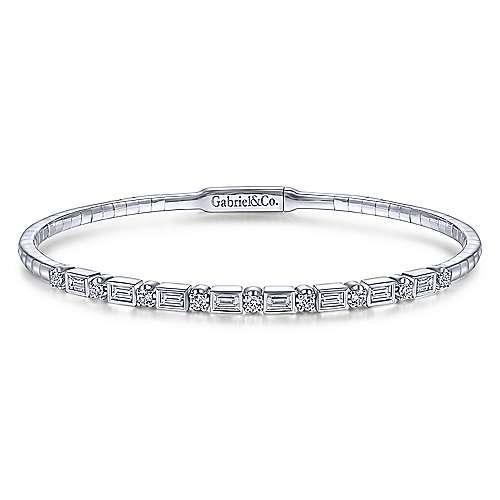14K White Gold Alternating Baguette and Round Diamond Bangle