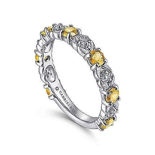 14K White Gold Alternating Citrine and Diamond Station Ring