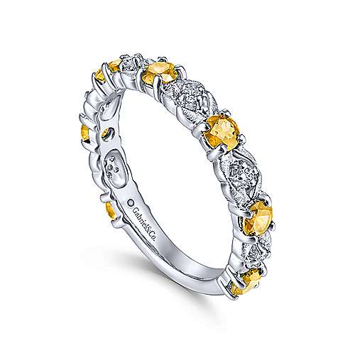 14K White Gold Alternating Citrine and Diamond Station Ring