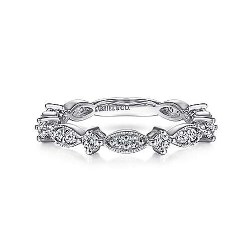 14K White Gold Alternating Cluster Marquis and Round Diamond Stackable Ring