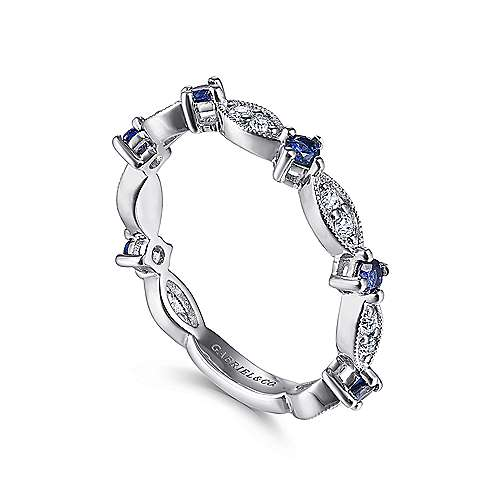 14K White Gold Alternating Diamond Cluster Marquis and Sapphire Stackable Ring