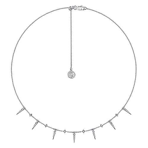 14K White Gold Alternating Diamond Spike Necklace