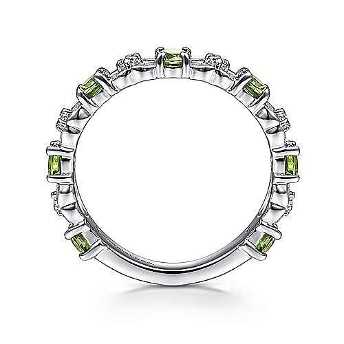14K White Gold Alternating Peridot and Diamond Station Ring