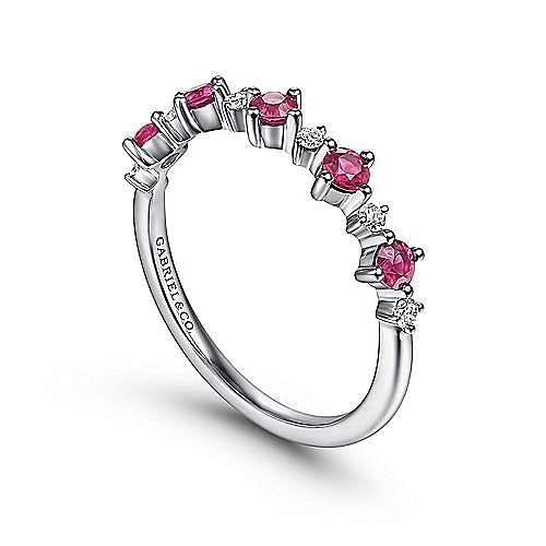 14K White Gold Alternating Round Diamond and Ruby Ring