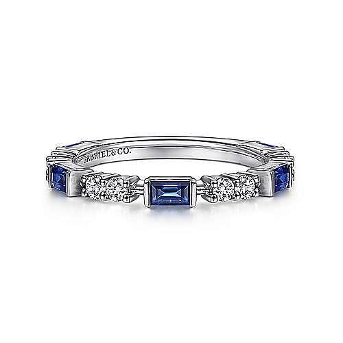 14K White Gold Alternating Sapphire Baguette and Diamond Ring