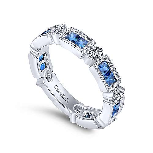 14K White Gold Alternating Sapphire and Diamond Stackable Ring