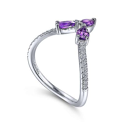14K White Gold Amethyst and Diamond Curved V Ring