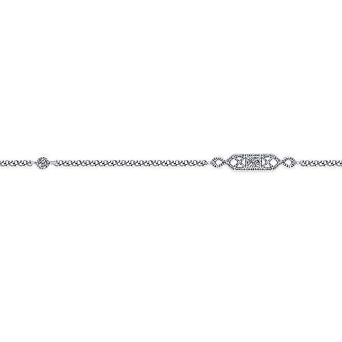14K White Gold Ankle Bracelet with Geometric Diamond Stations
