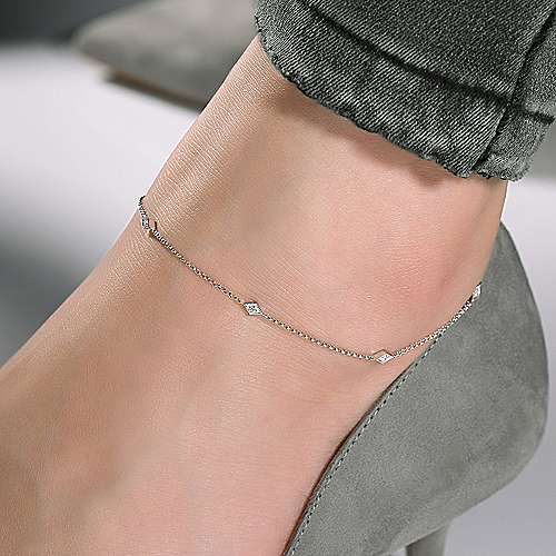 14K White Gold Ankle Bracelet with Marquise Shaped Diamond Stations