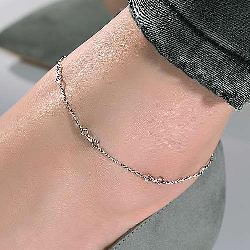 14K White Gold Ankle Bracelet with Open Leaf Diamond Stations
