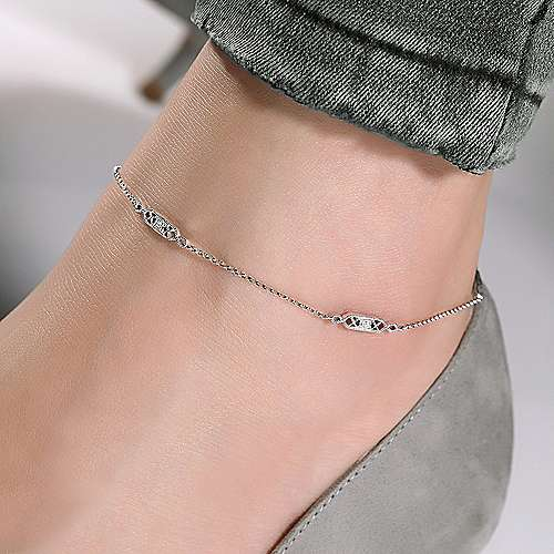 14K White Gold Ankle Bracelet with Rectangular Diamond Stations