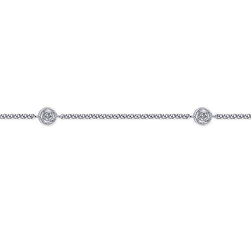 14K White Gold Ankle Bracelet with Round Diamond Stations