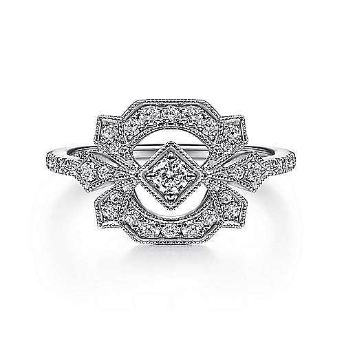 14K White Gold Art Deco Floral Diamond Ring