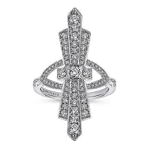 14K White Gold Art Deco Inspired Diamond Ring