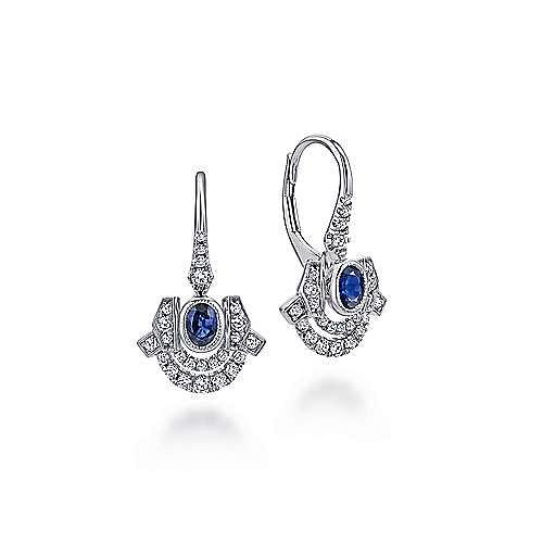 14K White Gold Art Deco Sapphire and Diamond Leverback Earrings