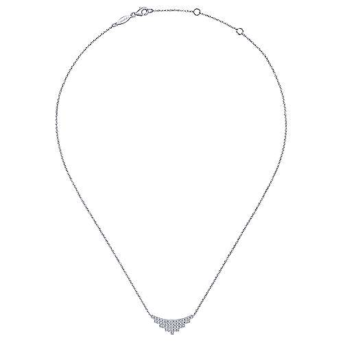 14K White Gold Art Moderne Triangle Necklace
