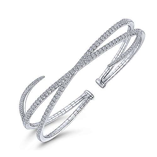 14K White Gold Asymmetrical Criss Cross Diamond Bangle