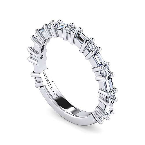 14K White Gold Baguette and Round Diamond Anniversary Band
