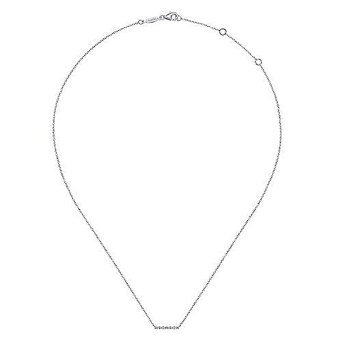 14K White Gold Baguette and Round Diamond Bar Necklace