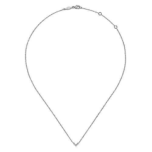 14K White Gold Baguette and Round Diamond Chevron Pendant Necklace