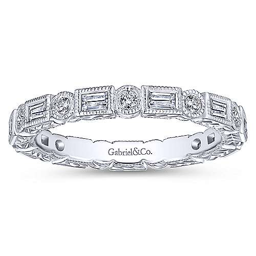 14K White Gold Baguette and Round Diamond Eternity Ring