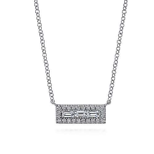 14K White Gold Baguette and Round Diamond Rectangle Pendant Necklace